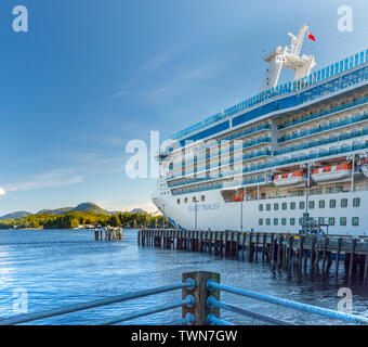 Sept. 17, 2018 - Ketchikan, AK: Large cruise ship the Island Princess moored at Berth 4 dock, late afternoon, port side view. - Stock Image