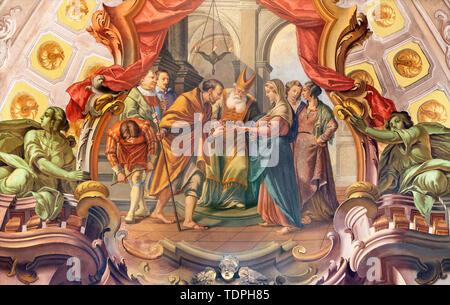 COMO, ITALY - MAY 8, 2015: The fresco of Wedding of St. Joseph and Virgin Mary fresco in church Santuario del Santissimo Crocifisso by Gersam Turri. - Stock Image