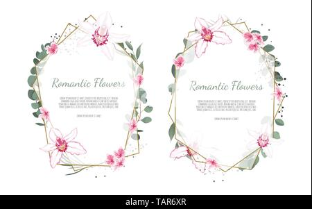 Floral vector frame with orchid and garden flowers. - Stock Image