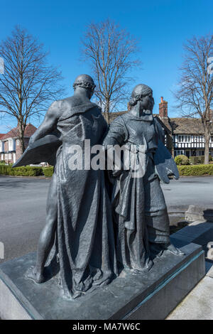 'Industry Charity'and Education' statue outside The Lady Lever art gallery port sunlight wirral merseyside north west england uk Sir William Reid Dick - Stock Image