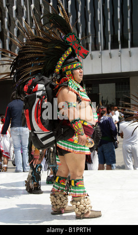 Mexican Man Dressed in Aztec Crocodile Costume at a Traditional Aztec Festival at the National Museum of Anthropology - Stock Image