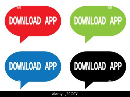 DOWNLOAD APP text, on rectangle speech bubble sign, in color set. - Stock Image