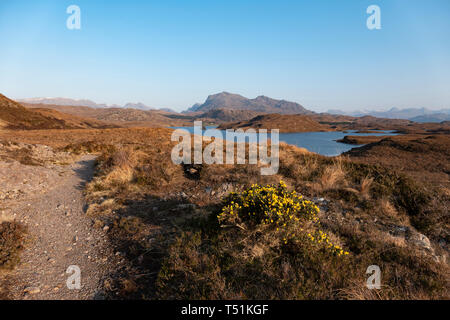Benn Airigh Charr and Loch Kernsary in the evening light, Poolewe, Scotland. - Stock Image