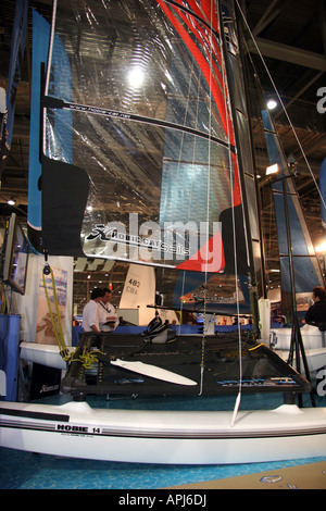 Brand new Hobie Cat on a display stand at the london boat show - Stock Image