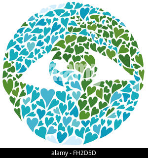 Planet earth built out of hearts with a large seeing eye in the middle. Symbol of peace and awareness. Africa in - Stock Image