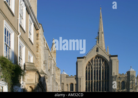 Norwich Cathedral close and buildings Norfolk East Anglia - Stock Image