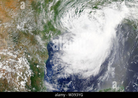 Tropical storm Barry heading towards Louisiana in 2019 - Elements of this image furnished by NASA - Stock Image
