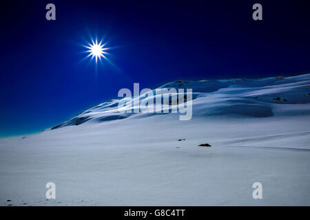 Snow covered mountain - Stock Image