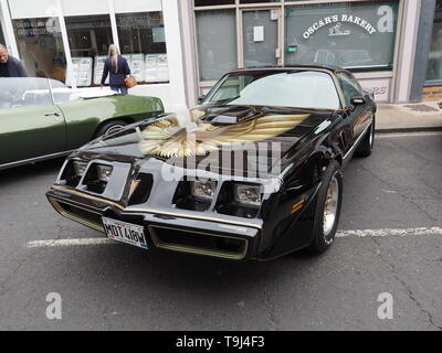 Faversham, Kent, UK. 19th May, 2019. 25th Faversham Transport Weekend: the second day of this annual transport festival now in its 25th year showcasing a wide range of vintage cars and vehicles. Pictured: a Pontiac Firebird. Credit: James Bell/Alamy Live News - Stock Image