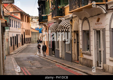 Gibraltar, Governor's Street, shops in local trading area on slopes of the rock - Stock Image
