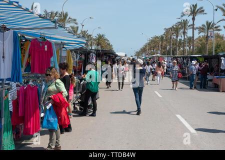 Walking through a local spanish market - Stock Image