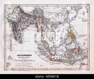 1844 Stieler Map - India & Southeast Asia - East Indies Philippine Islands Singapore Borneo Java - Stock Image