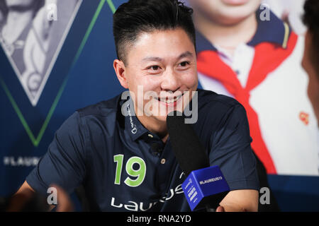 Monaco. 17th Feb, 2019. Laureus Academy member, Chinese gymnast Li Xiaopeng receives an interview in Monaco, Feb. 17, 2019, one day ahead of 2019 Laureus World Sports Awards ceremony. Credit: Zheng Huansong/Xinhua/Alamy Live News - Stock Image