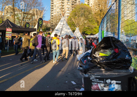 VANCOUVER, BC, CANADA - APR 20, 2019: Garbage left behind by attendees of the 420 festival in Vancouver. - Stock Image