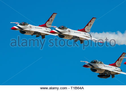 U.S. Airforce Thunderbirds Flight Demonstration Team performing over Davis Monthan Air Force Base in Tucson, Arizona March 24th 2019. - Stock Image