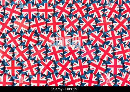 Union Jack bottle-tops - Stock Image