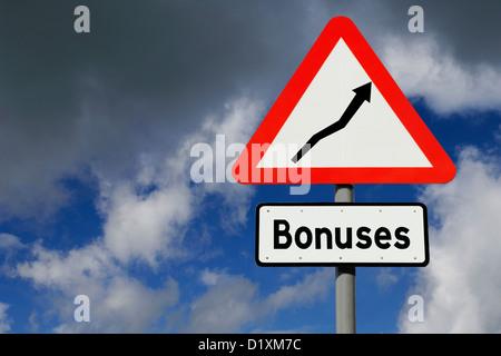 Rising bonuses signpost concept - Stock Image