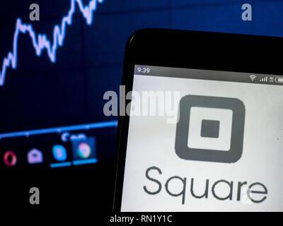 Ukraine. 16th Feb, 2019. Square, Inc. company logo seen displayed on a smart phone. Credit: Igor Golovniov/SOPA Images/ZUMA Wire/Alamy Live News - Stock Image