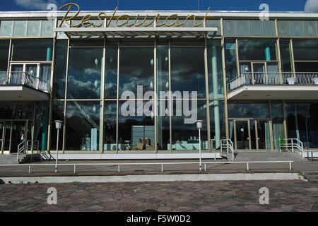 Old Restaurant building on the Berlin Messe fairground. - Stock Image