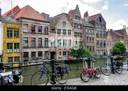 Historical Buildings Ghent Lys River Belgium - Stock Image