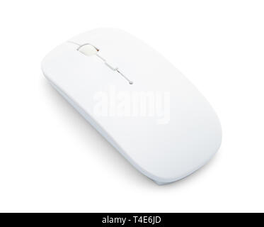 Wireless White Optical Computer Mouse Back View Isolated on White Background. - Stock Image