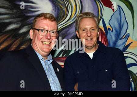 Manchester, UK. 31st January, 2019. left Councillor Nigel Murphy with poet Tony Walsh at the launch of The Yard in Strangeways. Tony wrote the poen after the Manchester Bomb Credit: Della Batchelor/Alamy Live News - Stock Image