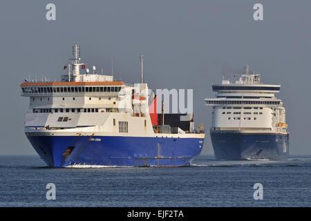 Stena Feronia and Color Fantasy heading for Kiel - Stock Image