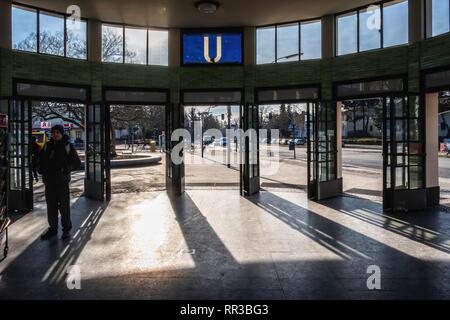 Berlin- Zehlendorf. Krumme Lanke U-Bahn Railway Station entrance hall & foyer. The railway station is the southwestern terminus of the U3 - Stock Image