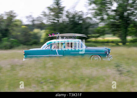 Rat-look surf wagon 1955 Chevrolet Bel Air classic American sedan, - Stock Image
