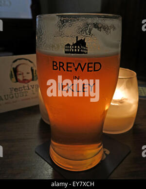 Beer Glass, Brewed in Ilkley logo,Craft brewery, West Yorkshire, England - Stock Image