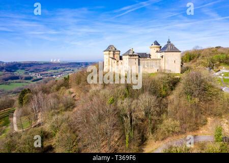 Malbrouck castle (Château de Meinsberg, Burg Meinsburg), in Mandaren village, France, near Schengen town, Metz city, and borders of Germany and Luxemb - Stock Image