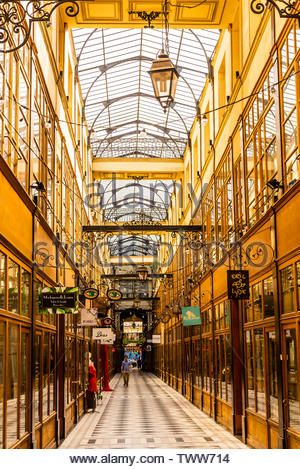 The shopping arcade Passage du Grand Cerf, built in 1825, Paris, France. - Stock Image