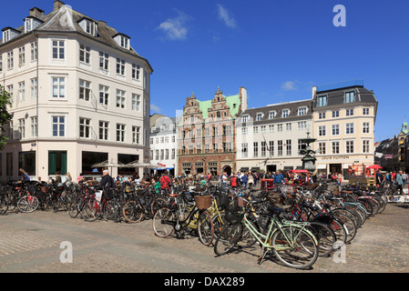 Many bicycles parked in Hojbro Plads with old Amagertorv Square beyond. Copenhagen, Zealand, Denmark, Scandinavia - Stock Image
