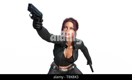Action girl shooting guns, redhead woman in leather suit with hand weapons isolated on white background, close up view, 3D rendering - Stock Image