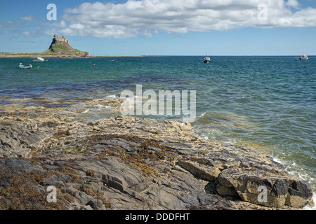 Across the waters to Lindisfarne Castle - Stock Image