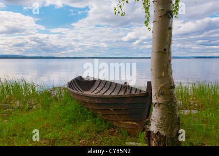 Old-fashioned row boat at lake Siljan, Dalarna, Sweden - Stock Image