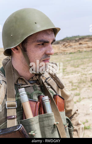 Soviet paratrooper in Afghanistan during the Soviet Afghan War. - Stock Image