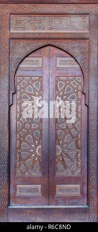 Wooden ornate door of platform (Minbar) of the Mosque of Al Nasir Mohammad Ibn Qalawun at the Citadel of Cairo, Egypt - Stock Image