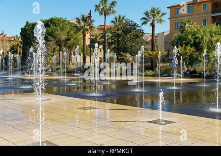 View of the water jets in the city of Nice (French Riviera). The french name is 'Coulée verte'. - Stock Image