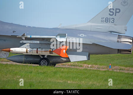 USAF Lockheed F16C/F-16D 52nd FW Spangdahlem Germany ON EXERCISE AT RAF Lossiemouth Scotland in the UK. - Stock Image