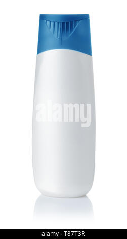 Front view of blank plastic shampoo bottle isolated on white - Stock Image