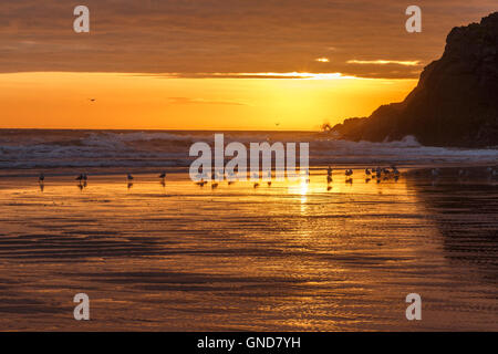 Sun setting behind Burry Holms, from Rhossili Beach. - Stock Image