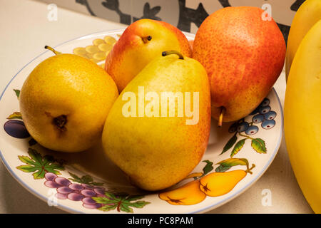 Four Bartlett pears, Pyrus communis,  in a plate decorated with fruit. Closeup. - Stock Image