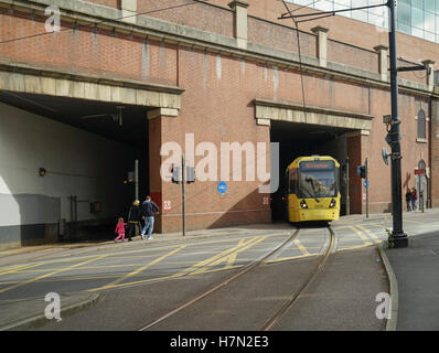 Manchester Metrolink Tramcar Exiting Piccadilly Station -1 - Stock Image