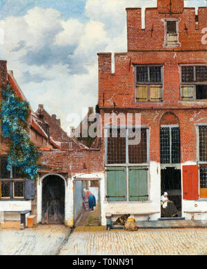 Johannes Vermeer, View of Houses in Delft, Known as 'The Little Street', painting c. 1658 - Stock Image