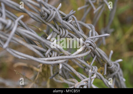 Close-up of barbed wire bundle in a field. - Stock Image