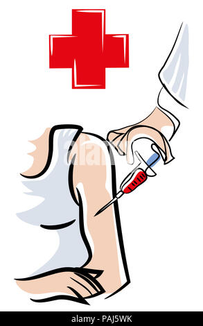 Vaccinations.  Men's vaccinations in the shoulder. Inject Disease vaccine protected for human. - Stock Image