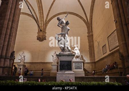 The Loggia dei Lanzi in Piazza della Signoria, Florence, Italy. Loggia dei Lanzi consists of wide arches open to - Stock Image