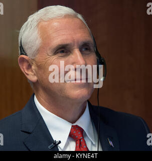 Vice President Mike Pence is seen as he talks with Expedition 53 crew members Joe Acaba, Randy Bresnik, and Mark - Stock Image