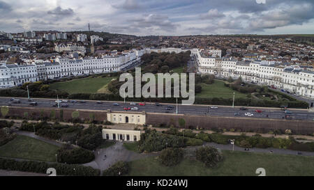 Aerial view of a grand regency square in Brighton (England) - Stock Image